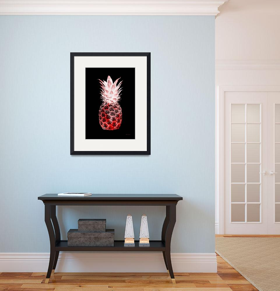 """14L Artistic Glowing Pineapple Digital Art Red&quot  (2016) by Ricardos"