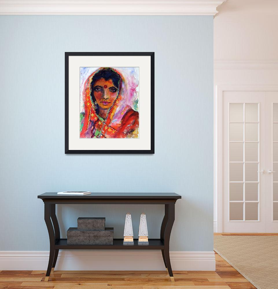 """Indian Woman with Red Bindi Mixed Media Painting b&quot  (2008) by GinetteCallaway"