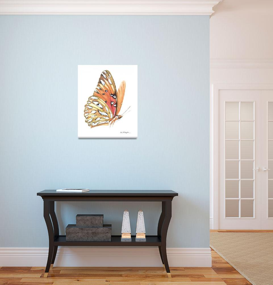 """gulf fritillary in flight&quot  (2008) by LisaMclaughlin"