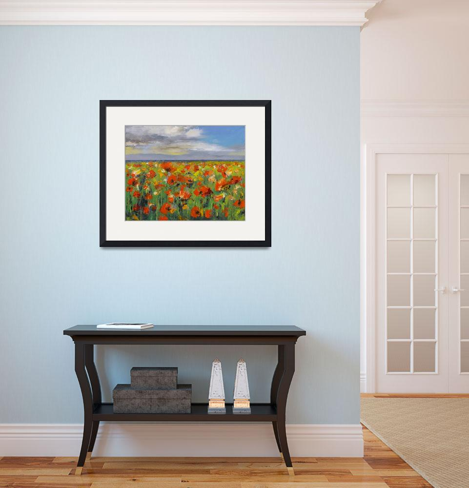 """Poppy Field with Storm Clouds&quot  by creese"