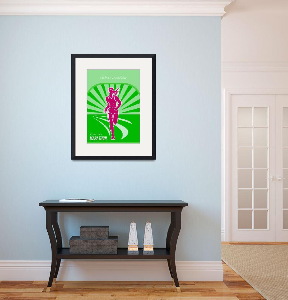 """Female Run Marathon Retro Poster&quot  (2014) by patrimonio"