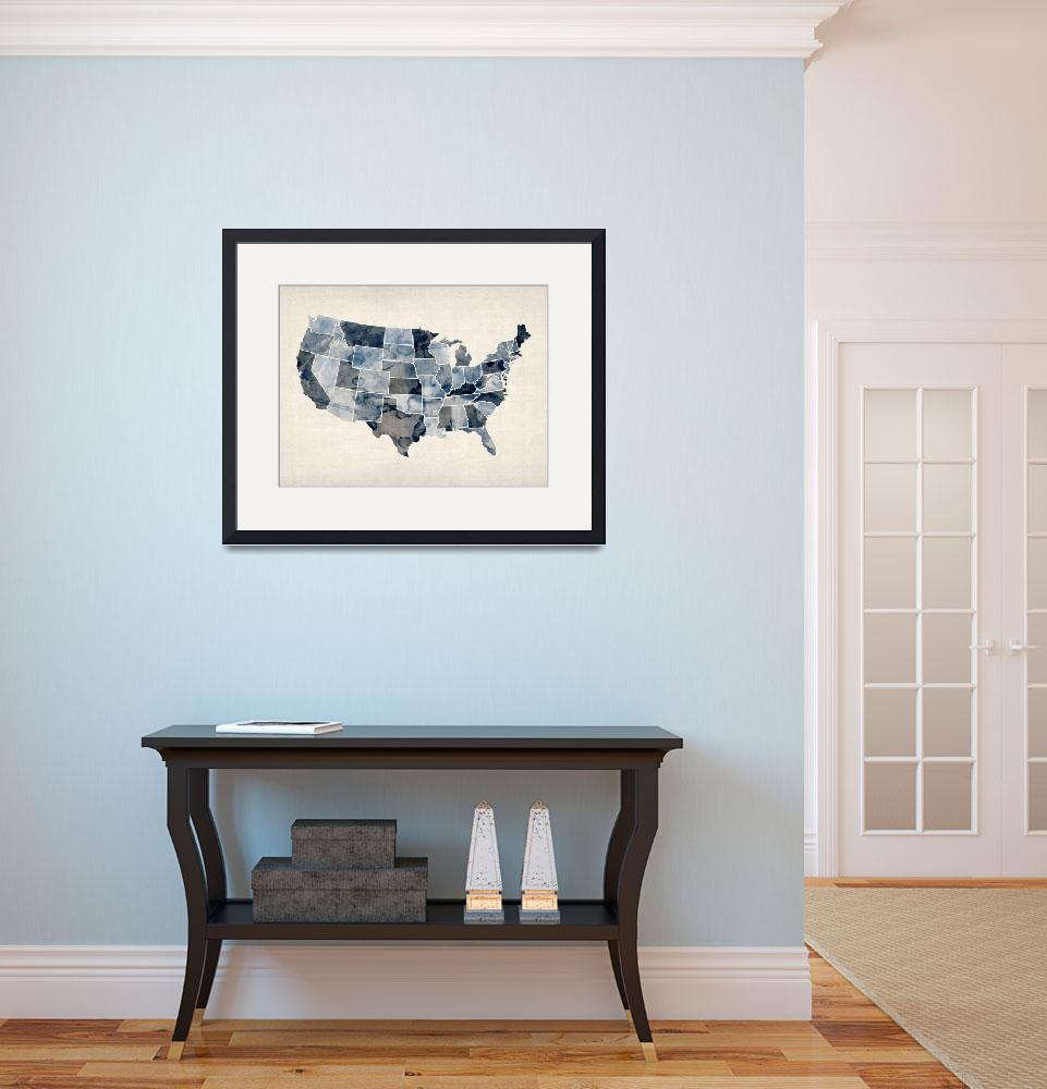 """United States Watercolor Map&quot  (2012) by ModernArtPrints"