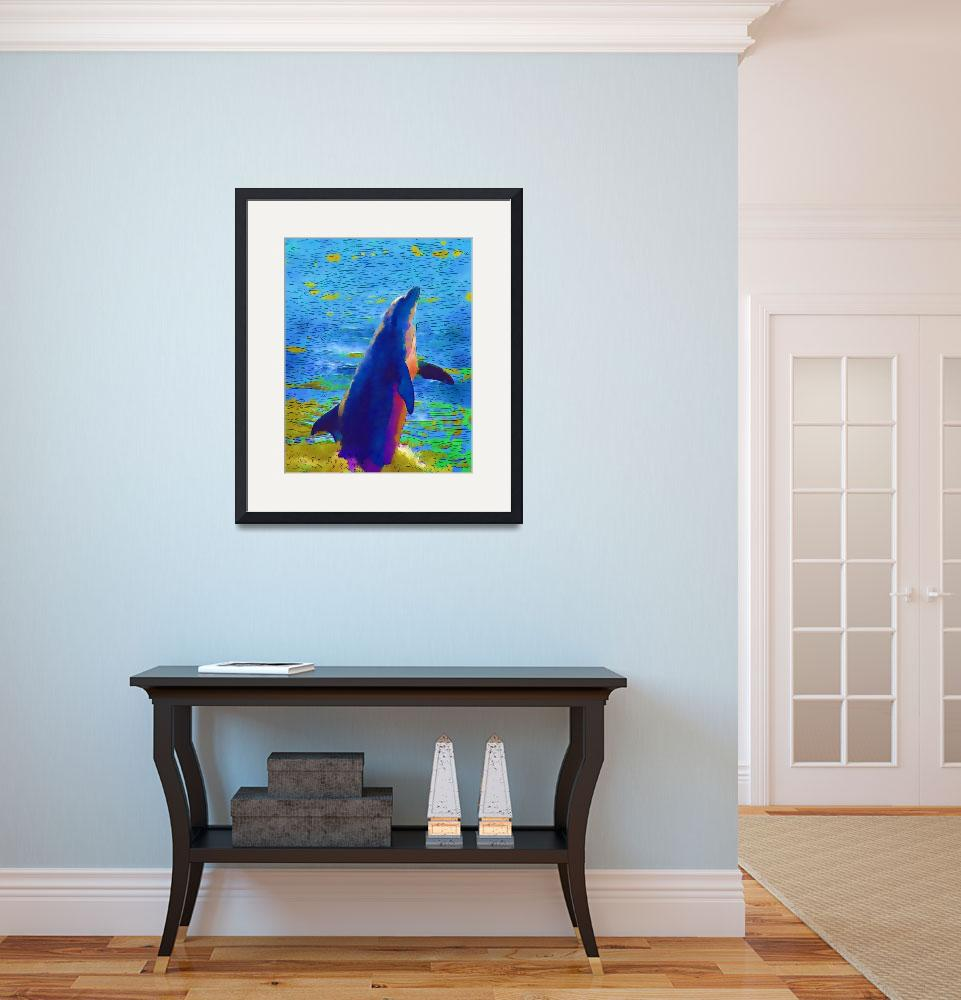 """Dolphin high resolution watercolour&quot  by MONIQUE2008"