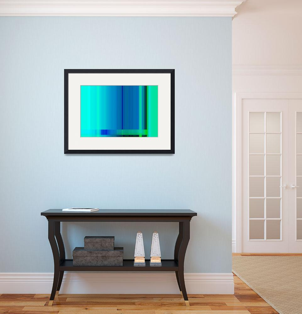 """Blue Turquoise Green Lines Abstract&quot  (2012) by NatalieKinnear"