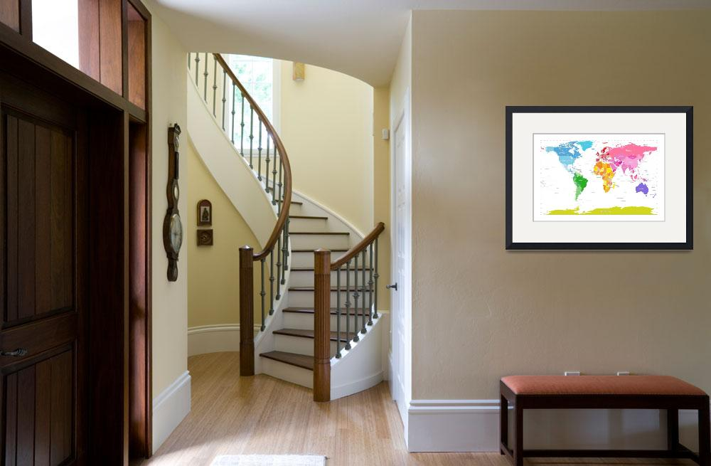 """Continents World Map&quot  (2012) by ModernArtPrints"