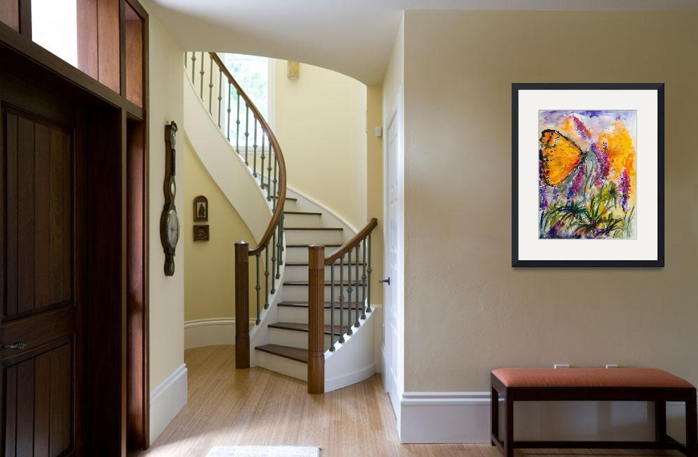 """Yellow Butterfly on Lupines Modern Painting&quot  (2012) by GinetteCallaway"