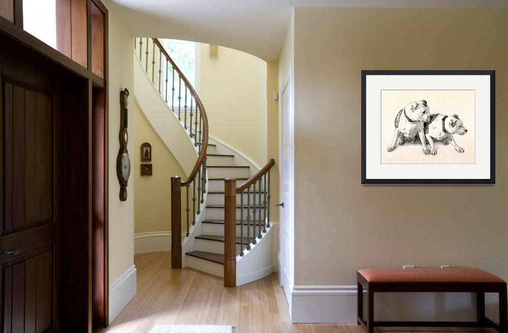 """Two Bull Terriers&quot  (2010) by ModernArtPrints"