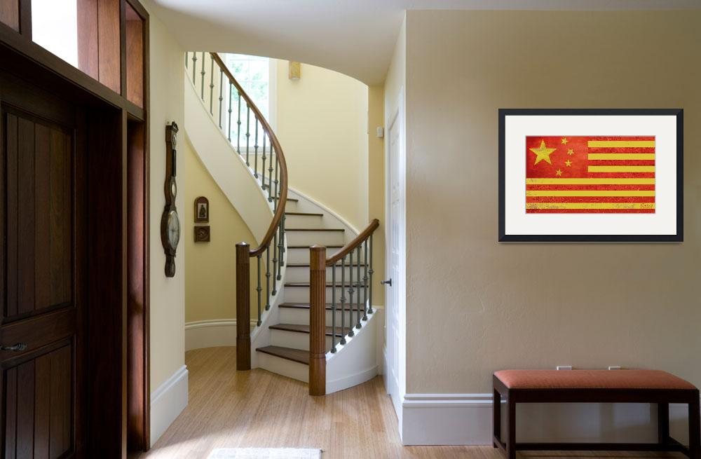 """Chinese American Flag&quot  by RubinoFineArt"