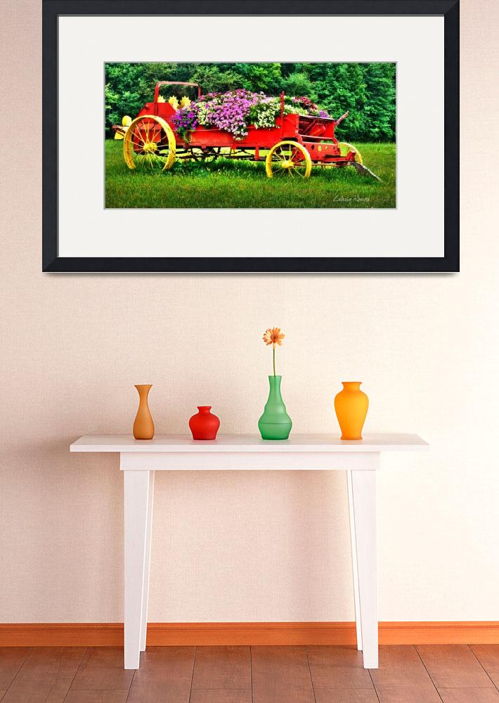 """Floral Wagon&quot  (2014) by LouiseReeves"