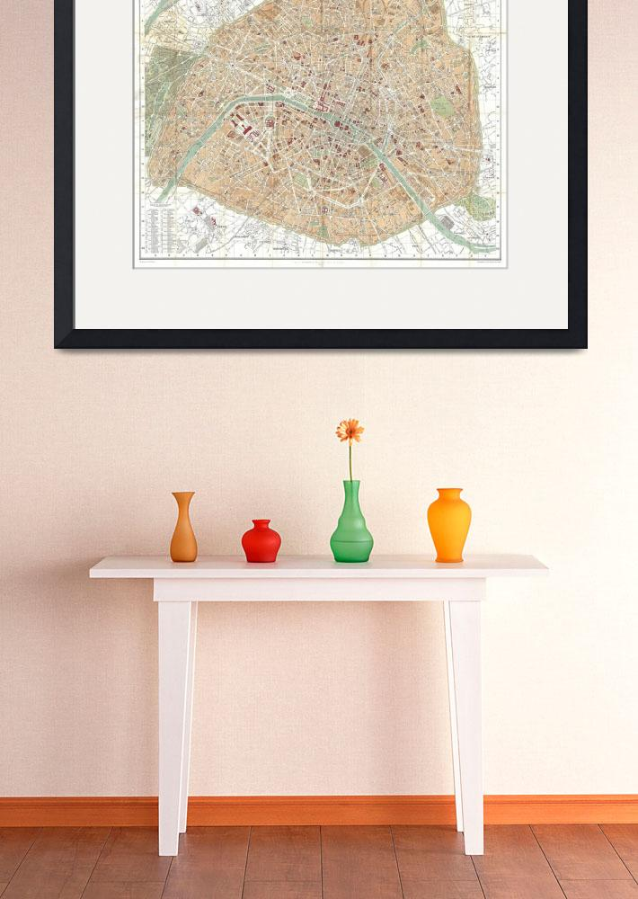 """Vintage Map of Paris France (1892)&quot  by Alleycatshirts"