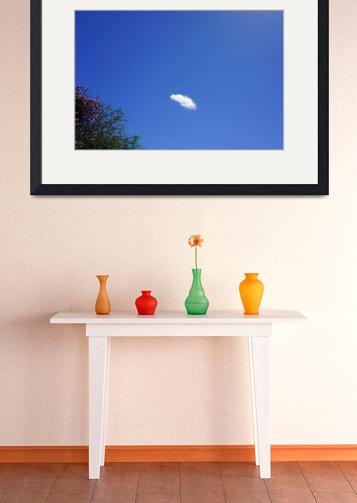 """Blue Sky White Cloud Art Prints Tree tops&quot  (2014) by BasleeTroutman"