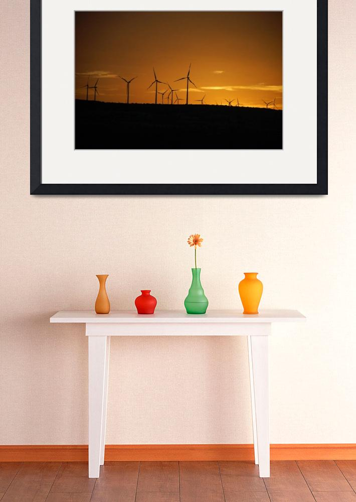 """Wind Turbines at Sunset&quot  (2008) by overbeck"