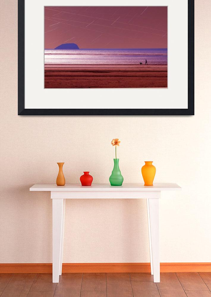 """Beach jogger with dog&quot  (2012) by Spangles44"
