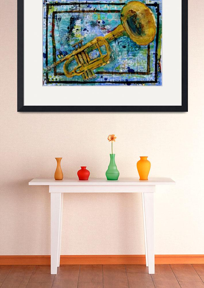 """mixed media musical art - trumpet Trust&quot  (2015) by schulmanart"
