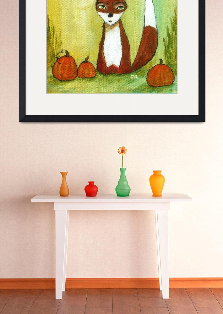 """Making Choices,Fox and Pumpkins,Abstract Landscape&quot  (2012) by Itaya"