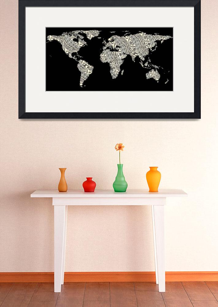 """World Map Silhouette - Patterned Mandala 03&quot  by Alleycatshirts"