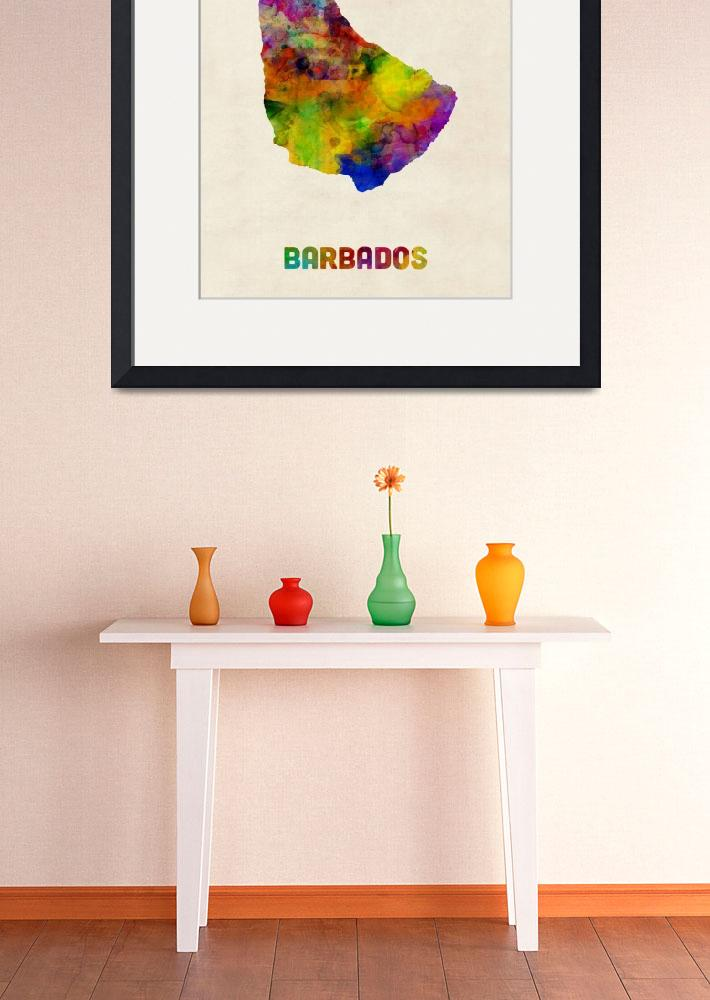 """Barbados Watercolor Map&quot  (2016) by ModernArtPrints"