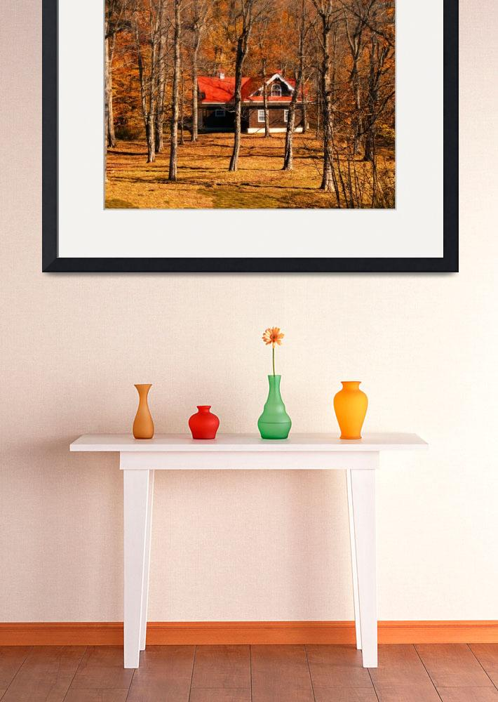 """Warm Fall Colors,Isolated Country Cottage,Forest&quot  (2010) by Chantal"