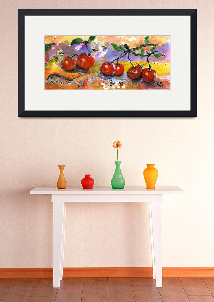 """Cherries & Bees Watercolor by Ginette&quot  (2004) by GinetteCallaway"
