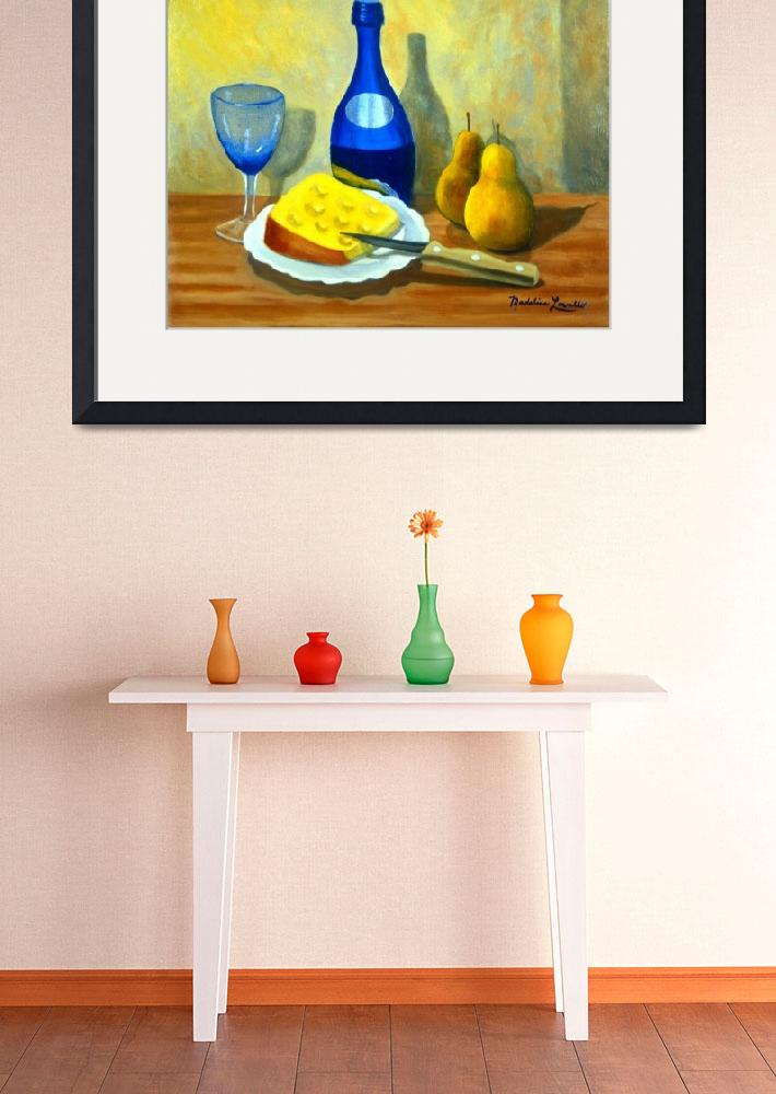 """BLUE BOTTLE WITH PEARS & CHEESE&quot  by madelinesstudio"