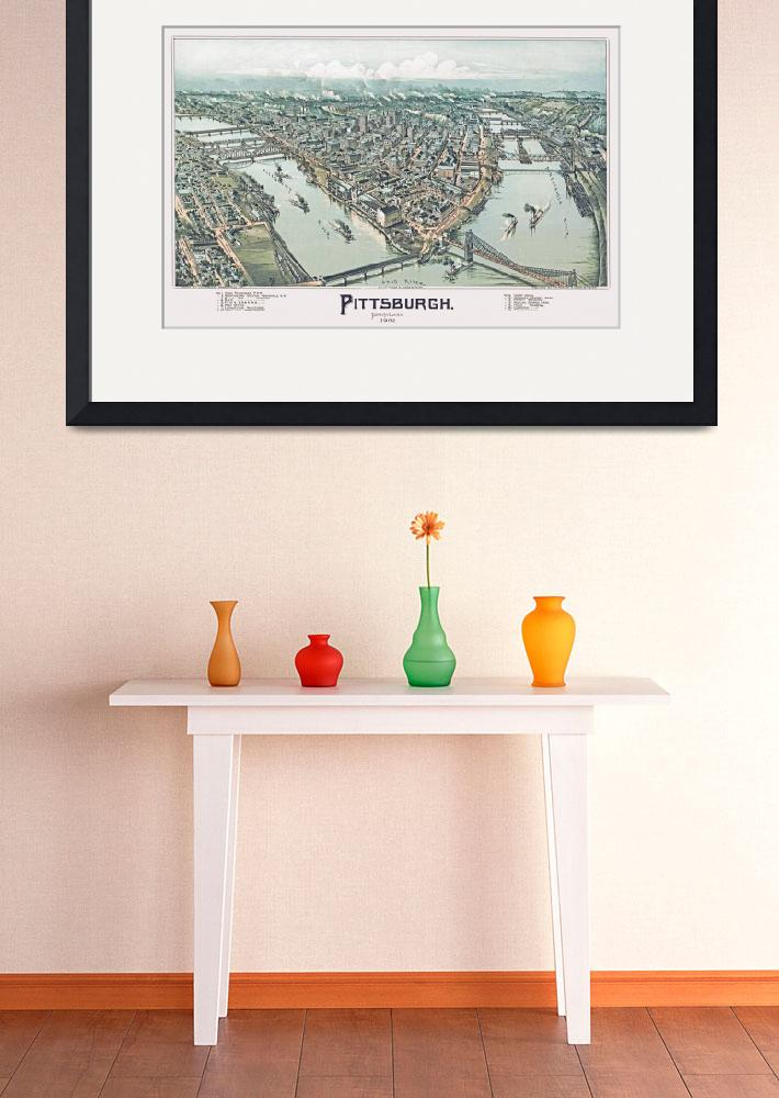 """Pittsburgh Pennsylvania Panoramic Map&quot  by ArtLoversOnline"