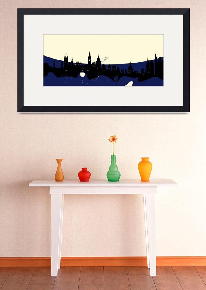 """London Skyline with Birds&quot  (2014) by GinetteCallaway"