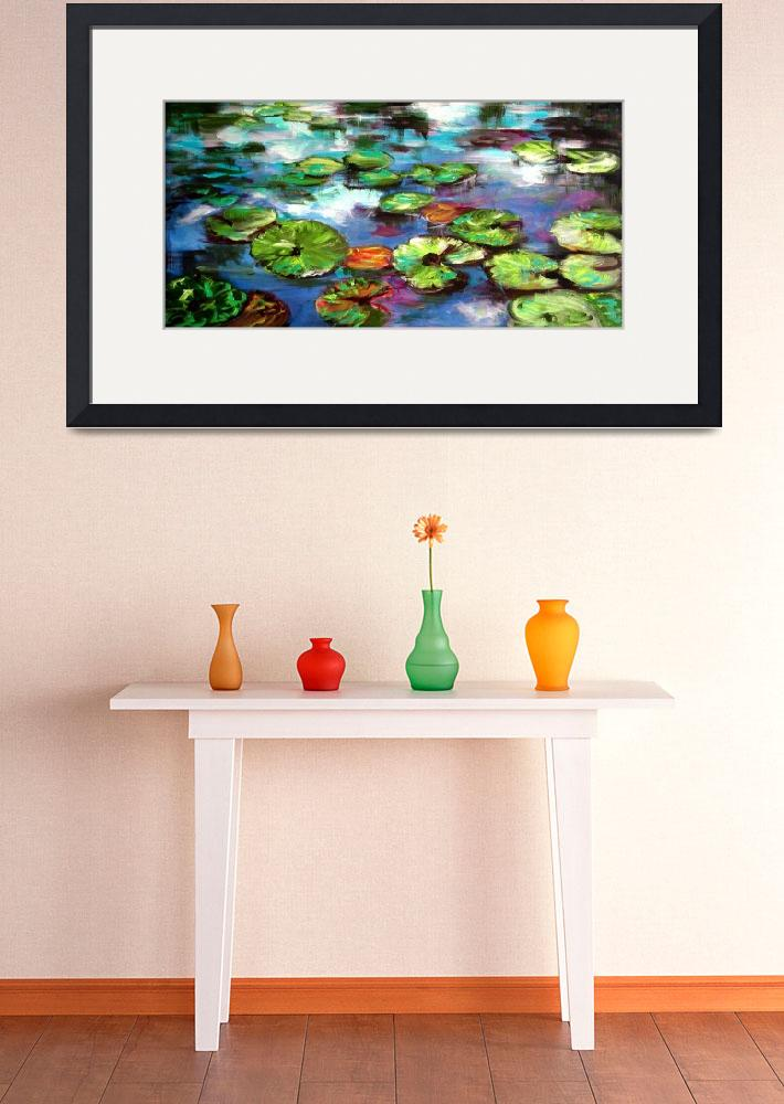 """Sparkling Lily Pond Original Painting by Ginette&quot  (2002) by GinetteCallaway"