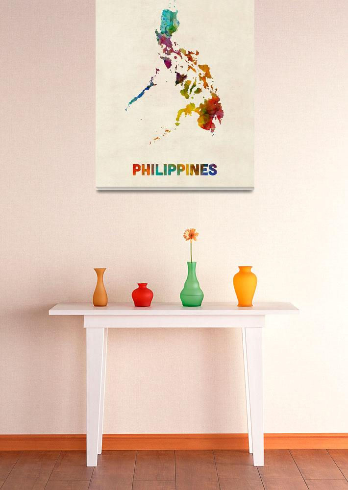 """Philippines Watercolor Map&quot  (2015) by ModernArtPrints"
