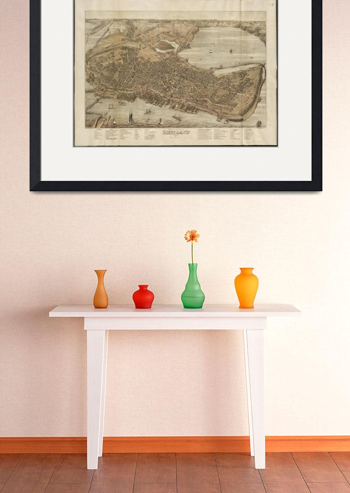 """Vintage Map of Portland Maine (1876)&quot  by Alleycatshirts"