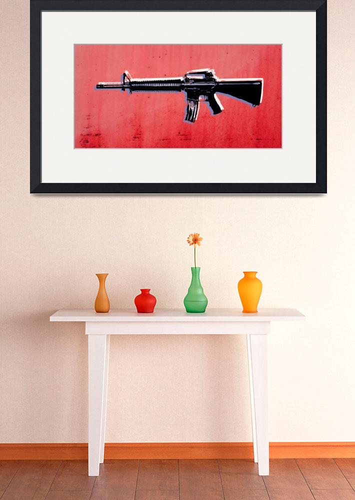 """M16 Assault Rifle on Red&quot  (2010) by ModernArtPrints"