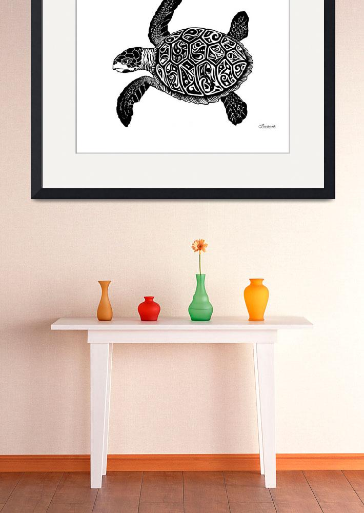 """Green Sea Turtle - Glyph Turtle&quot  by savanna"