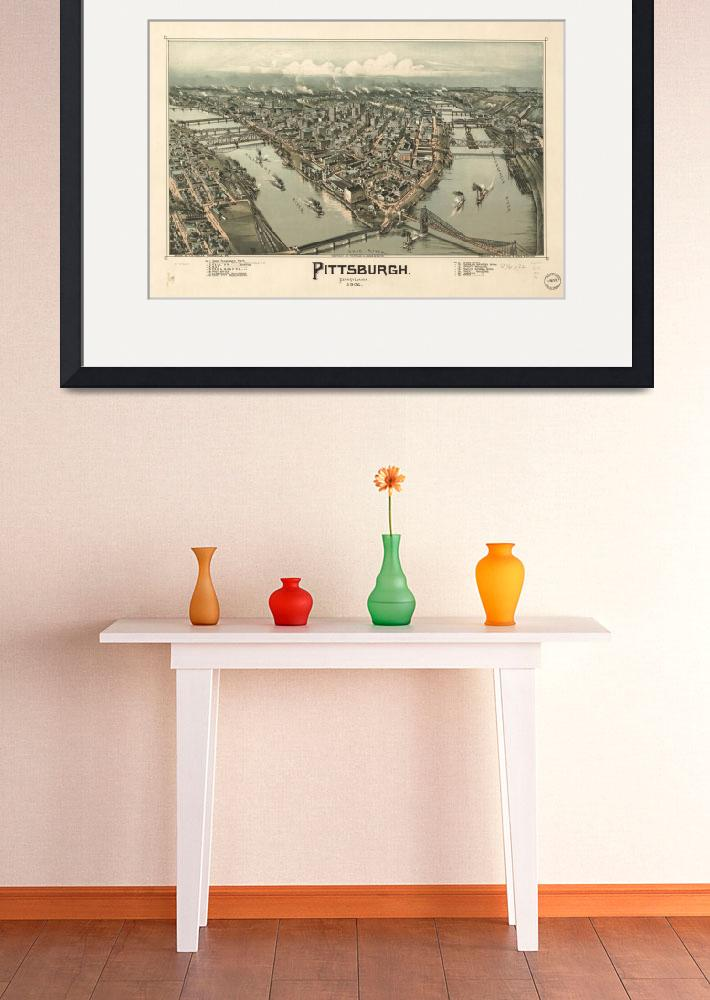 """Vintage Pictorial Map of Pittsburgh PA (1902)&quot  by Alleycatshirts"