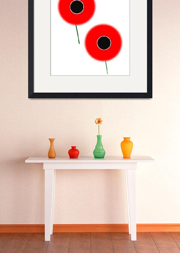 """Red Poppies Minimalist Poster&quot  by motionage"