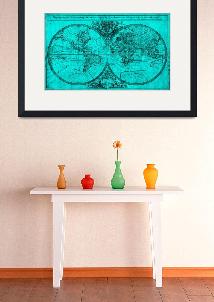 """World Map (1691) Turquoise & Black&quot  by Alleycatshirts"