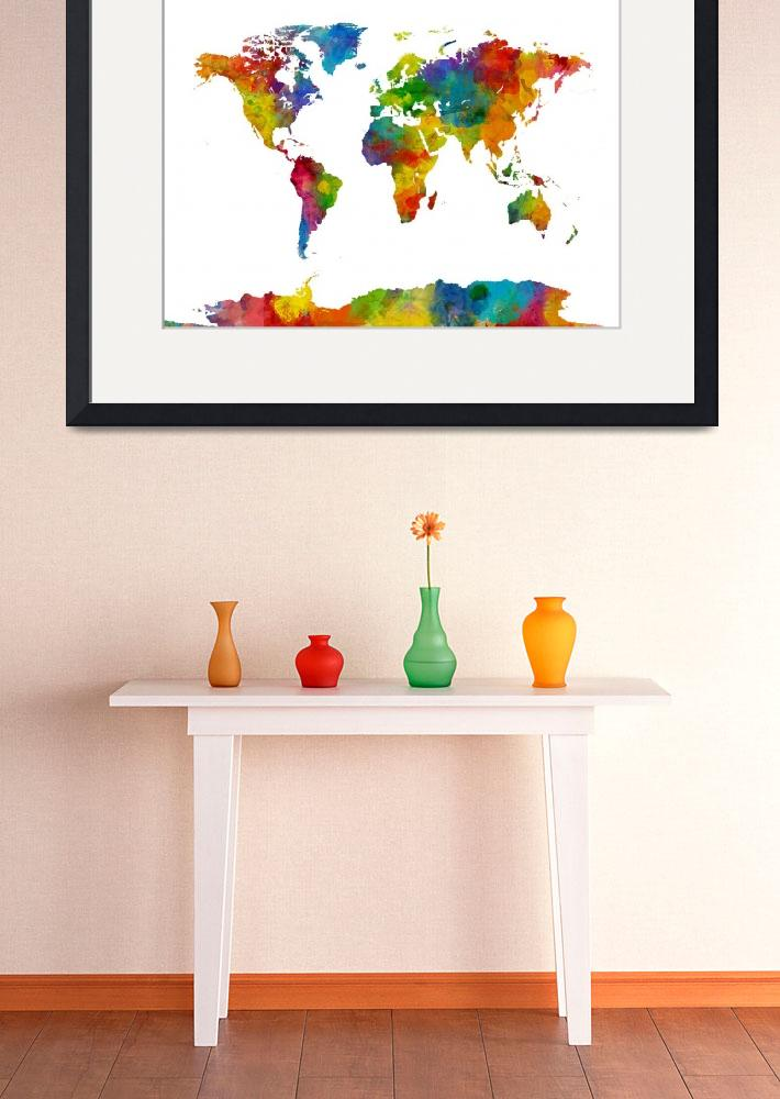 """Map of the World Map Watercolor&quot  (2015) by ModernArtPrints"