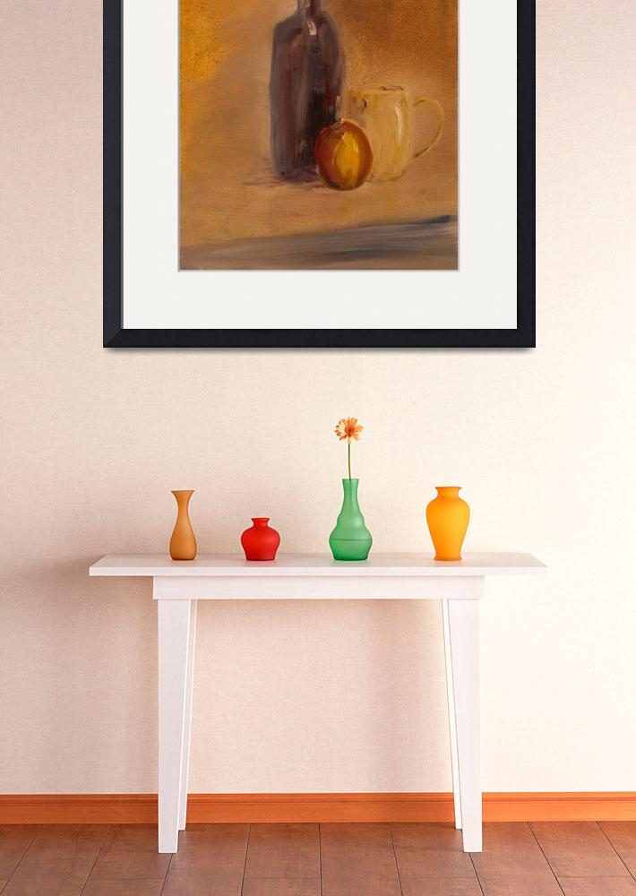 """SL - Still Life With Wine Bottle, Cup and Apple&quot  (2009) by PaulGalante"
