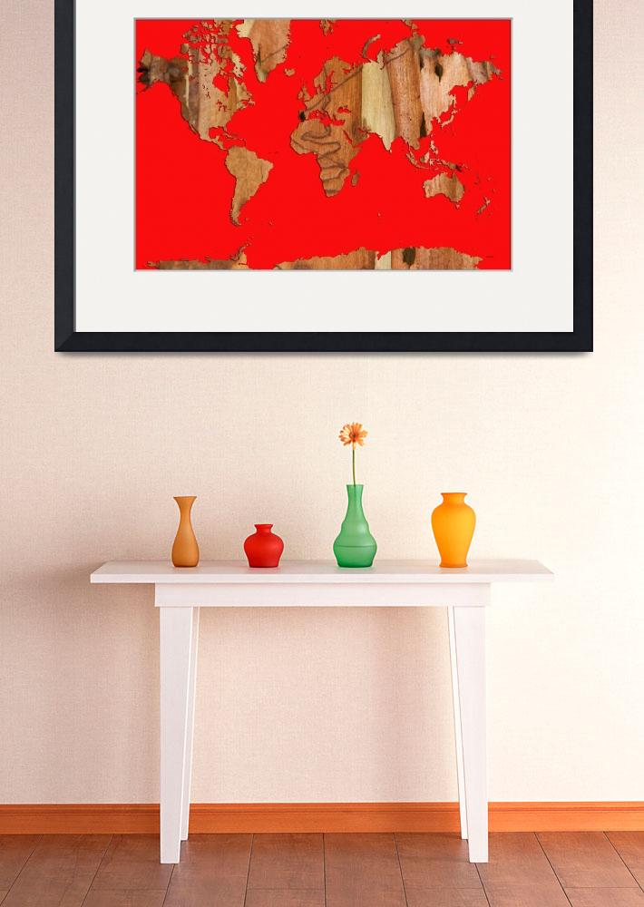 """Wood bark worldmap red&quot  (2014) by MarleneWatson"