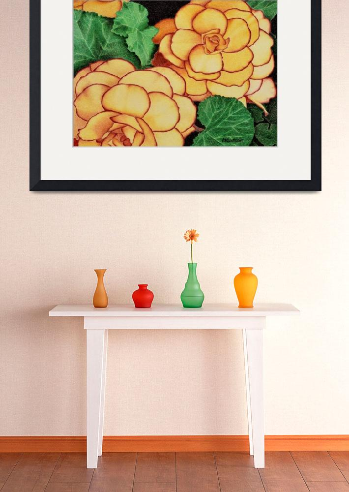 """Yellow Begonias&quot  (2015) by sharonpattersonsart"
