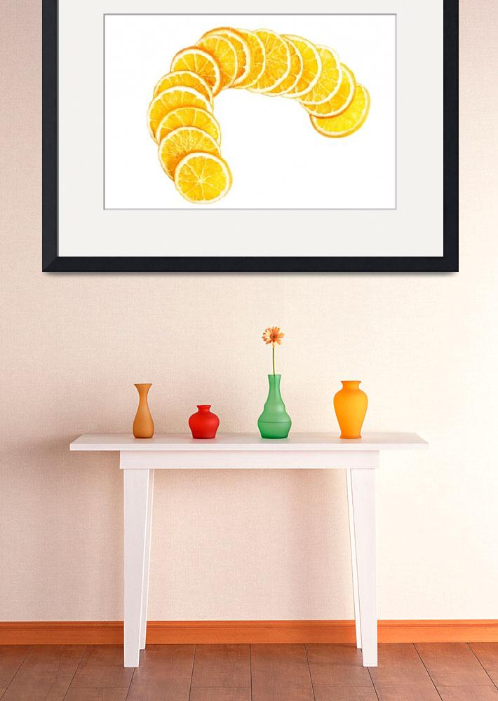 """Slices of orange isolated on white background.&quot  by Piotr_Marcinski"