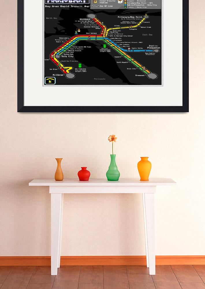 """Bay Area Rapid Transit Map - Mario Kart Style&quot  (2012) by originaldave77"