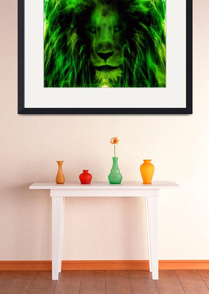 """Green Lion&quot  (2017) by nicolekieferdesign"