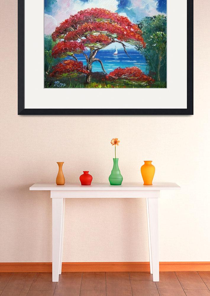 """Blooming Royal Poinciana Tree and Sailboat&quot  (2014) by mazz"