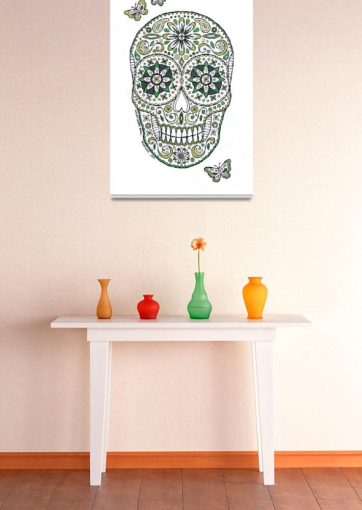"""green sugar skull&quot  (2010) by staceycreek"
