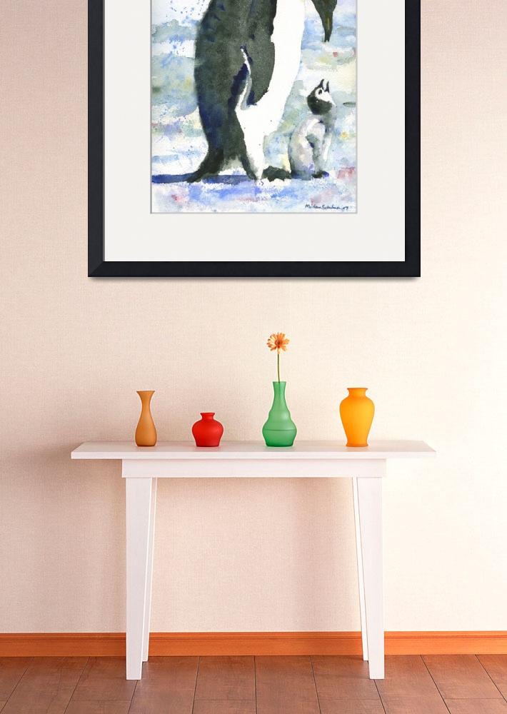 """Penguin Parent, Watercolor Painting of baby bird i&quot  by schulmanart"