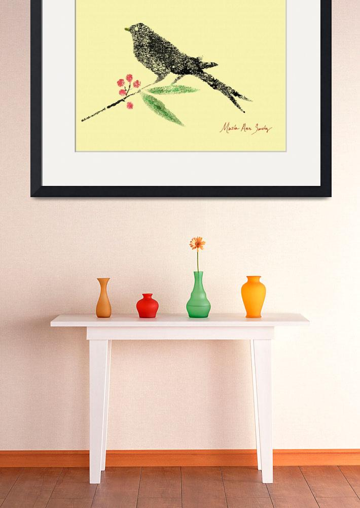 """Decorative Black Bird and Red Berries on Yellow R&quot  (2015) by MasArtStudio"