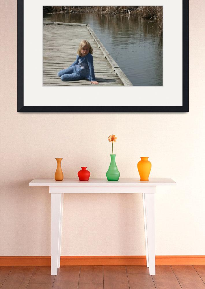 """Young Blond Girl sitting on a dock&quot  (2012) by rhamm"