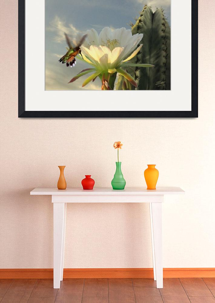 """Hummingbird and Cactus&quot  (2013) by spadecaller"