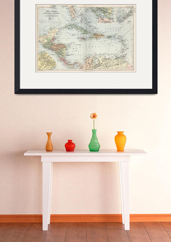"""Vintage Map of The Caribbean (1892)&quot  by Alleycatshirts"