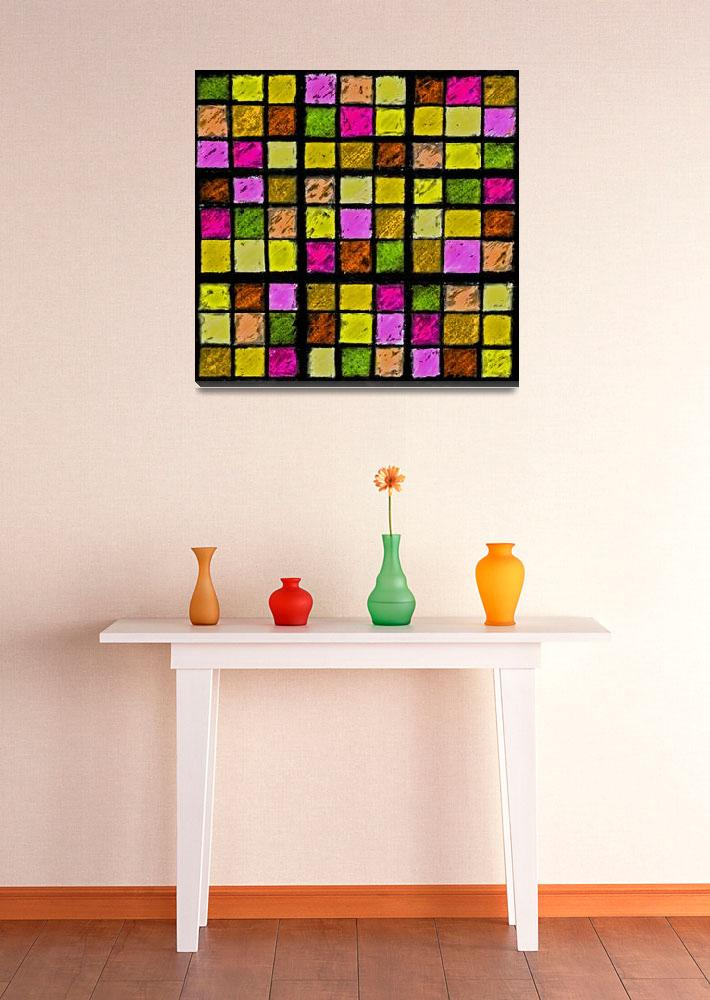 """Sudoku Abstract Yellow Green Red&quot  (2012) by KsWorldArt"