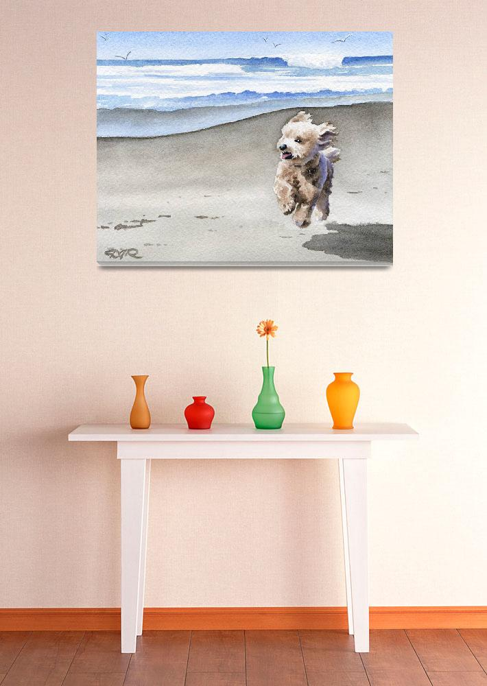 """Apricot Poodle at the Beach&quot  (2015) by k9artgallery"